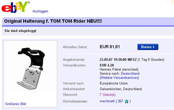 tomtom rider halterung kfz car kit motorrad. Black Bedroom Furniture Sets. Home Design Ideas