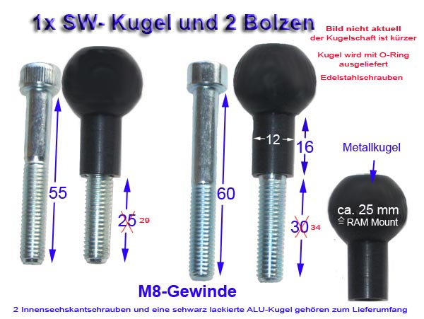 25mm klemmkugel mit 2x m8 bolzen f r bmw rt modelle. Black Bedroom Furniture Sets. Home Design Ideas